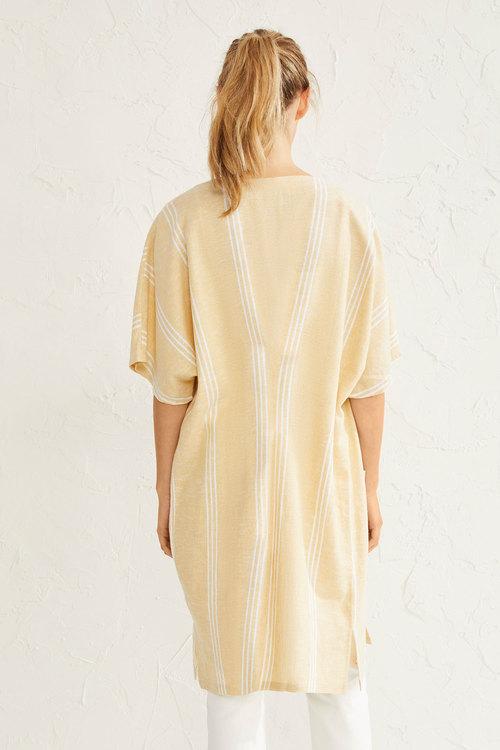 Emerge Linen Blend Long Pocket Kimono