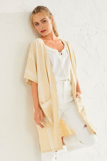 Emerge Linen Blend Long Pocket Kimono - 253326
