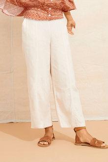 Emerge Linen Blend Crop Pant - 253328