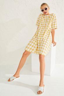 Emerge Gingham Gather Detail Dress - 253329