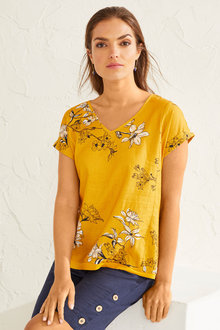 Capture Linen Blend Cuff Sleeve Top - 253331