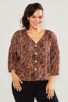 Sara Batwing Button Through Top - 253349