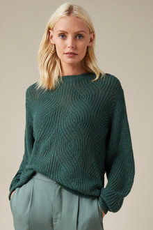 Emerge Cable Knit Fluffy Sweater - 253351