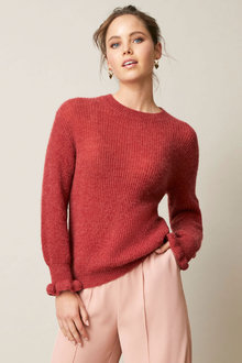 Emerge Fluffy Ruffle Sleeve Sweater - 253352