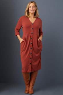 Sara Knit Button Through Dress - 253417