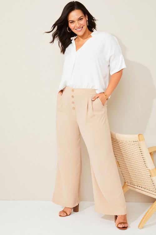 Sara Wide Leg Button Pant