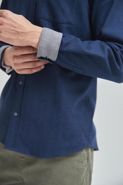 Next Herringbone Long Sleeve Shirt