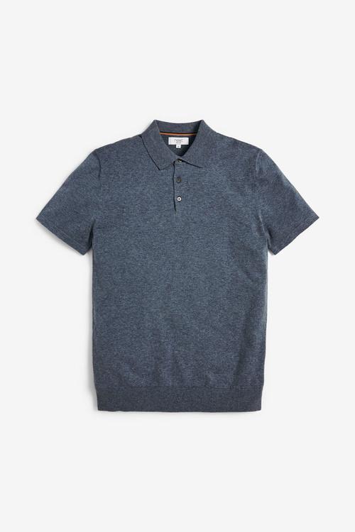 Next Short Sleeve Marl Knitted Poloshirt
