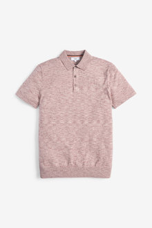 Next Short Sleeve Marl Knitted Poloshirt - 253451