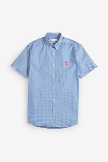 Next Gingham Short Sleeve Stretch Oxford Shirt - 253467