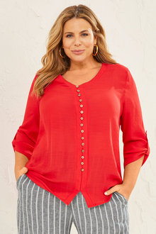 Sara 3/4 Sleeve Button Top - 253831
