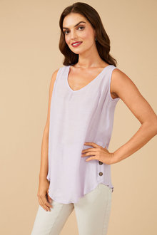 Grace Hill Textured Button Back Tank Top - 253856