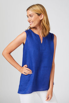 Capture Linen Notch Neck Tank Top - 253863