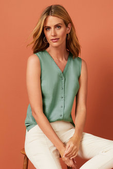 Capture Linen Sleeveless Shirt - 253865