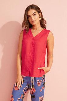 Capture Linen Sleeveless Shirt - 253865