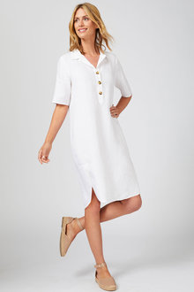 Capture Linen Button Front Dress - 253869