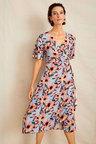 Grace Hill Pleated Wrap Midi Dress
