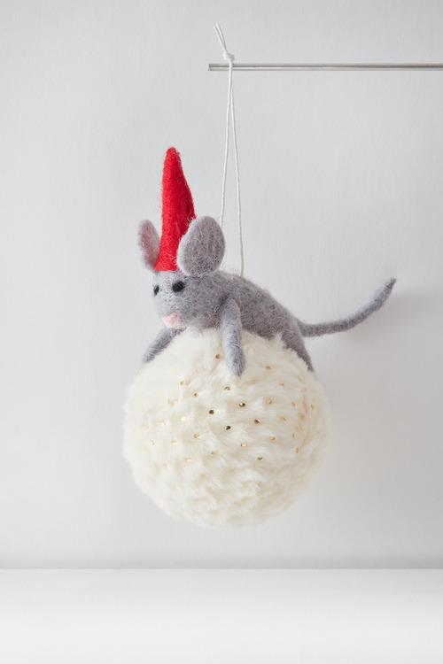 Santas Snowball Mouse Hanging Decoration
