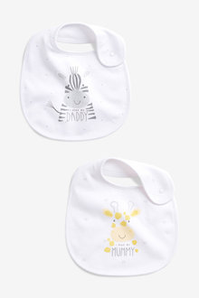 Next 2 Pack Mummy Daddy Slogan Regular Bibs - 253900