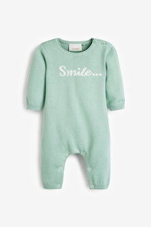 Next GOTs Organic Smile Slogan Knitted Romper (0-12mths) - 253903