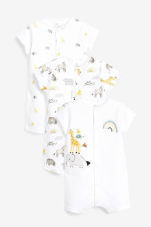 Next 3 Pack GOTS Organic Cotton Animal Rompers (0mths-3yrs)