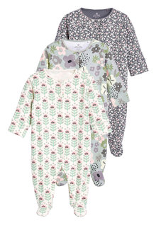 Next 3 Pack Floral Sleepsuits (0mths-2yrs) - 253924