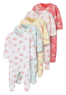 Next 5 Pack Ditsy Floral Sleepsuits (0mths-2yrs) - 253925