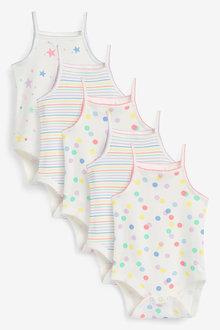 Next 5 Pack Spot Stripe Vest Bodysuits (0mths-3yrs) - 253928
