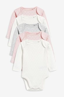 Next 5 Pack Pointelle Long Sleeve Bodysuits (0mths-3yrs) - 253944