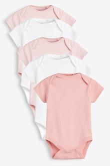 Next 5 Pack GOTS Certified Organic Cotton Short Sleeve Bodysuits (0mths-3yrs) - 253945