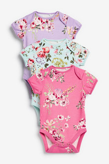 Next 3 Pack Floral Short Sleeve Bodysuits (0mths-3yrs) - 253954