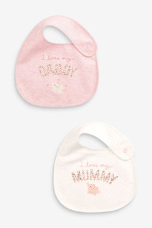 Next 2 Pack Mummy And Daddy Bunny Regular Bibs - 253955
