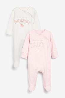 Next 2 Pack Mummy And Daddy Elephant Sleepsuits (0mths-2yrs) - 253966