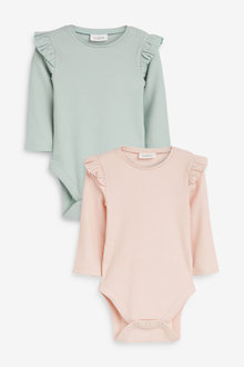 Next 2 Pack Frill Sleeve Bodysuits (0mths-3yrs) - 253990