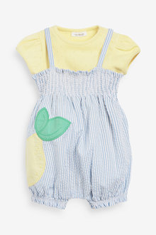 Next Seersucker Lemon Dungarees And Bodysuit Set (0mths-2yrs) - 254000