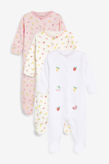 Next 3 Pack Delicate Fruit Sleepsuits (0mths-2yrs)