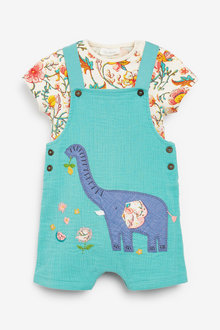 Next Elephant Applique Dungarees And Bodysuit Set (0mths-2yrs) - 254013