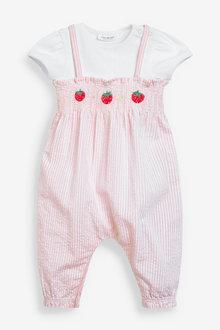 Next Seersucker Strawberry Dungarees And Bodysuit Set (0mths-3yrs) - 254014