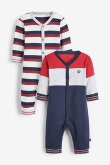Next 2 Pack Stripe Footless Sleepsuits (0mths-2yrs) - 254043