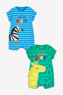 Next 2 Pack Character Mum And Dad Romper (0mths-3yrs) - 254044