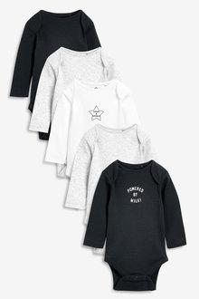 Next 5 Pack Slogan Rib Long Sleeve Bodysuits (0mths-3yrs) - 254060