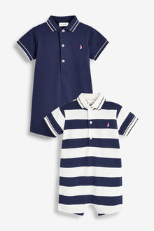 Next 2 Pack Stripe Polo Rompers (0mths-2yrs) - 254066