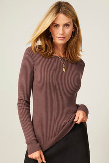 Capture Ribbed Knit Crew Neck Sweater - 254070