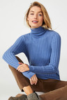 Capture Ribbed Knit Roll Neck Sweater