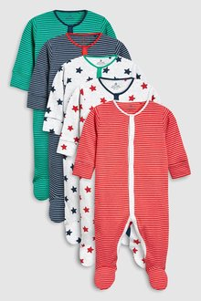 Next 5 Pack Stripe And Star Sleepsuits (0mths-2yrs) - 254091