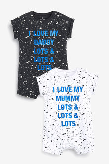 Next 2 Pack Paint Splatter Mummy And Daddy Rompers (0mths-3yrs)