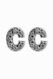 Next Cubic Zirconia Stone Initial Stud Earrings - 254155