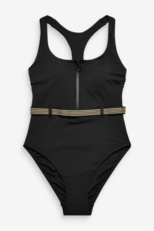 Next High Neck Zip Front Belted Swimsuit - 254204