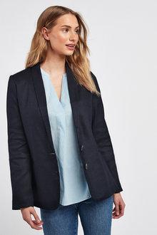 Next Linen Blend Single Breasted Blazer-Tall - 254241