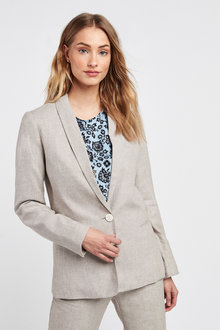 Next Linen Blend Single Breasted Blazer-Tall - 254241